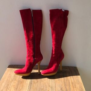 Red suede over the knee boots